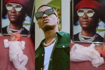 What Nonsense: See What A Die Hard Fan Did With His Newly Born Son And Portrait Photo Of Wizkid